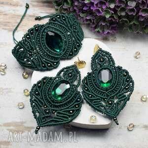 kameleon elegancki komplet biżuterii w odcieniach butelkowej zieleni, makrama