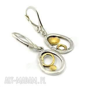 kolczyki srebrne, oryginalne, stylowe, złocone, srebro, 925, wiszące