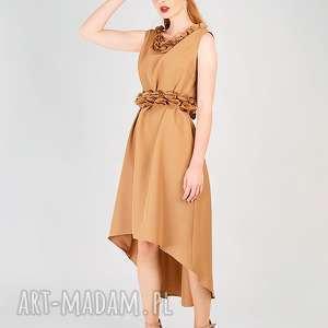 sukienki elegancka sukienka z aplikacją, aplikacja, naszywane, płatki, kwiaty