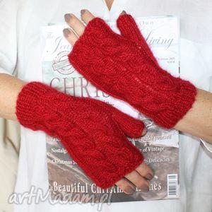 hand-made rękawiczki mitenk z moheru i z warkoczem