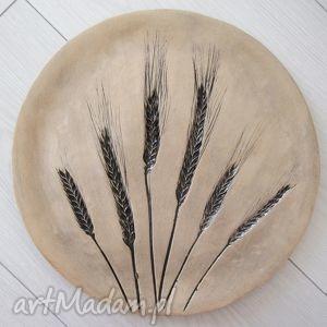 patera w kłosy, ekologiczna, ceramiczna, talerz, ceramiczny, prezent, beżowa