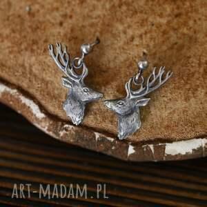 wiszące kolczyki sztyfty z jeleniami, srebrny jeleń, biżuteria ze zwierzętami