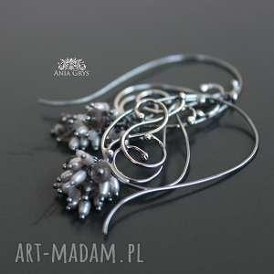 Koronka z perłami i morganitem anna grys morganit, kolczyki