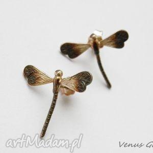 kolczyki srebrne - mini ważki na sztyftach, biżuteria, srebro, kolczyki