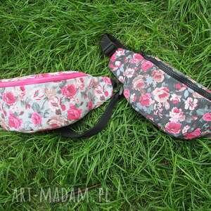 nerki w fajny różany wzór dostepne dwie wersje handmade, nerka, biodrówka, saszetka