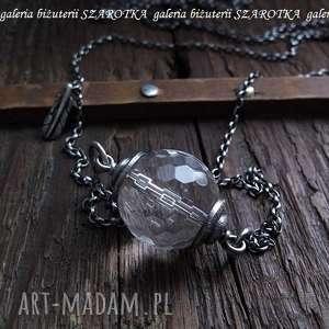 PURE naszyjnik z kryształu górskiego i srebra, kryształ, górski, srebro, oksydowane