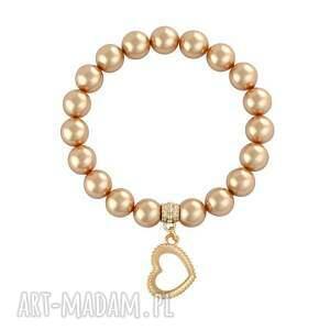 pink gold. - ,perła,swarovski,serce,