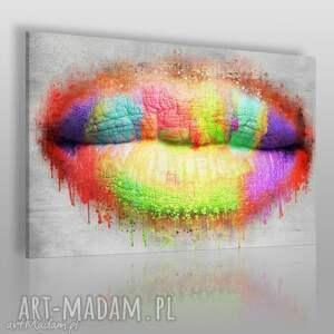 obraz na płótnie - usta tęcza 120x80 cm 59901, usta, kobieta, tęcza, kolorowy