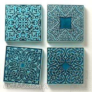 ręcznie zrobione ceramika dekory cztery ornamenty turkusowe