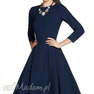 Sukienka ZUZA Midi Granat, sukienka, rozkloszowana, midi, elegancka, wizytowa