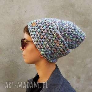 czapka hand made no. 056 beanie szydło, pastelowa czapka, z włóczki