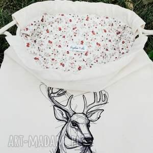 plecak z jeleniem haft - hand-made