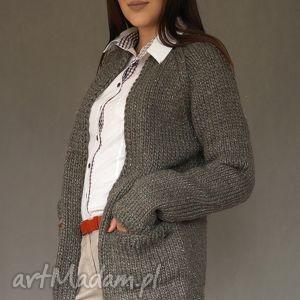 kardigan z metaliczną nitką - sweter, kardigan, kieszenie, dziergany, wełna