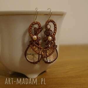 godne grety - kolczyki z żywicy i miedzi - bizantyjski przepych, sztuczna perła