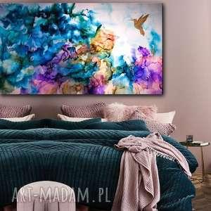 Prezent Koliber w tęczowej mgle - Obraz do salonu i na prezent ręcznie malowany