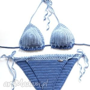 Plażowy niebieski, kostium, plażowy, bikini, szydełkowy, opalacz, bawełna
