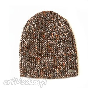 Czapka #16, czapka, beanie, melanż, dziergana, alpaka, druty