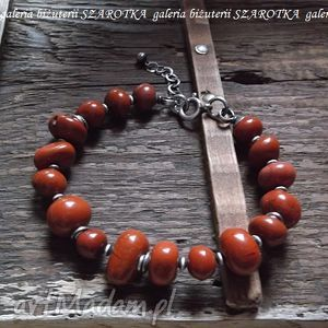 rdzawa bransoletka z jaspisów i srebra, jaspis, srebro, oksydowane, ruda