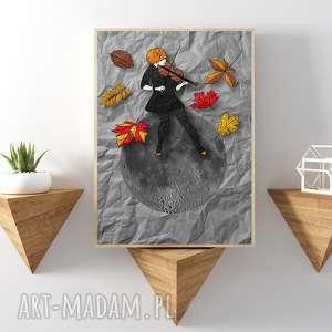 jesienna melodia art print a4, wydruk, ilustracja, plakat, format kobieta