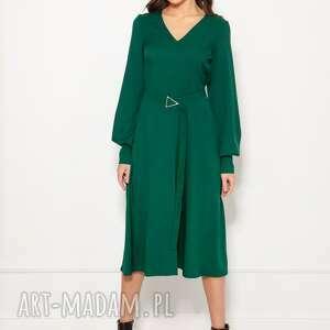 sukienka z dekoltem v, suk189 zielony, polski produkt, wysokiej jakości