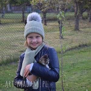 komplet pistacja merynos dziecięca czapka, szalik wełniany ciepły, zimowy