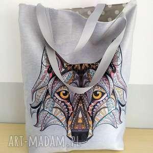 handmade torba zakupowa z wilkiem