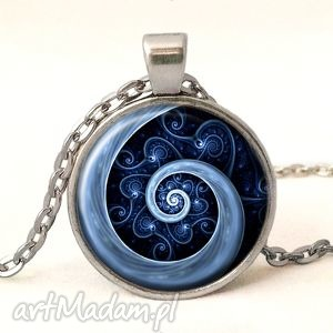niebieska spirala - medalion z łańcuszkiem - elegancki, prezent