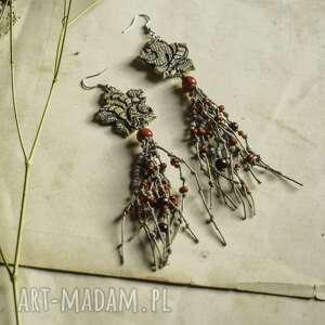 kolczyki boho z lnianym sznurkiem w kolorach ziemi, kolczyki, wiszące