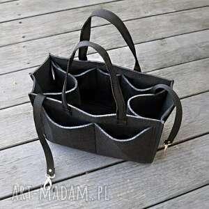 ręczne wykonanie torebki organizer filcowy - dużo kieszonek czarny