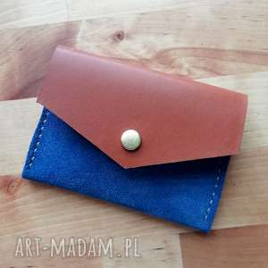 rachel skórzana zamszowa portmonetka - niebieska portfelik na karty etui