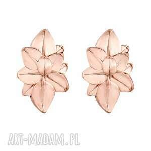kolczyki duże kwiaty z różowego złota - pozłacane