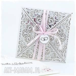 Koronkowa kartka ślubna scrapbooking kartki jelonkaa ślub