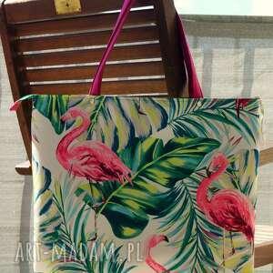 torba / worek - flamingi, torba, kolorowa, wakacyjna, motyw botaniczny