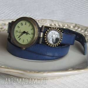 zegarki zegarek vintage z grafiką skórzany chabrowy, bizuteria, zegarek, bransoletka