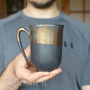kubki kubek ceramiczny czarny mat i złoto 325ml, kubek, ceramiczny