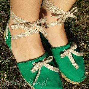 Espadryle damskie natural zielone z wiązaniem buty saint tropez