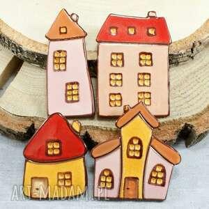 Kolorowe domki zestaw magnesów ceramika pracownia ako domki