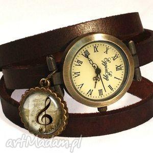 klucz wiolinowy - zegarek bransoletka na skórzanym pasku, muzyczny