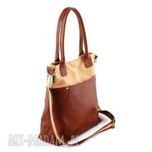 fiella - duża torba beż i kasztan, modna, wygodna, klasyczna, oryginalna