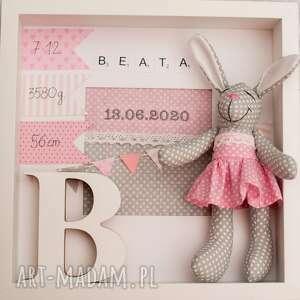 handmade dla dziecka metryczka prezent królik chrzest