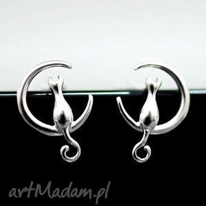 925 srebrne mini sztyfty the moon cat, koty, księżyc, srebro, srebrny, zwierzę