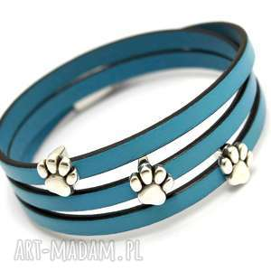 ręcznie wykonane bransoletka skórzana magnetoos triple animallo pastell blue