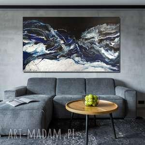 - srebrna fala obraz w rozmiarze xl, ręcznie malowany na płótnie