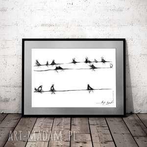 grafika 15 - z serii minimal animal, ptaki, rysunek natury, nowoczesna