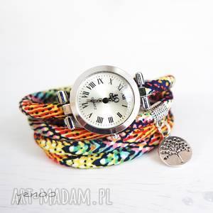 ręczne wykonanie zegarki zegarek, bransoletka - drzewko kolorowy, owijany, boho