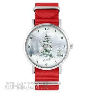 hand-made pomysł na prezent pod choinkę zegarek - zimowy, choinka czerwony