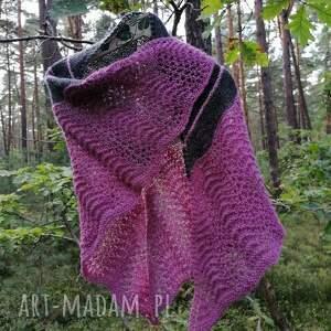 unikalny, z bordiurą, rękodzieło, chusta na drutach, autorska chusta, ażurowa