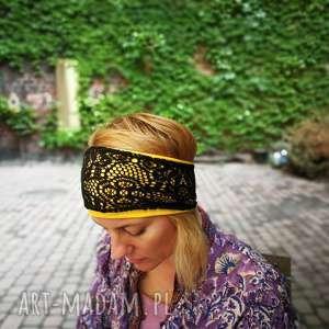 szeroka opaska koronkowa czarna podstawa żółta, opaska, etno, koronkowa, boho, joga