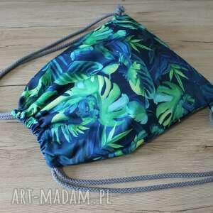 worek plecak - monstery i tropikalne liście, plecak, worek