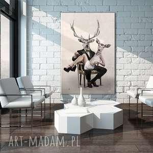obraz na płótnie - 80x120cm deer love 02138 wysyłka w 24h